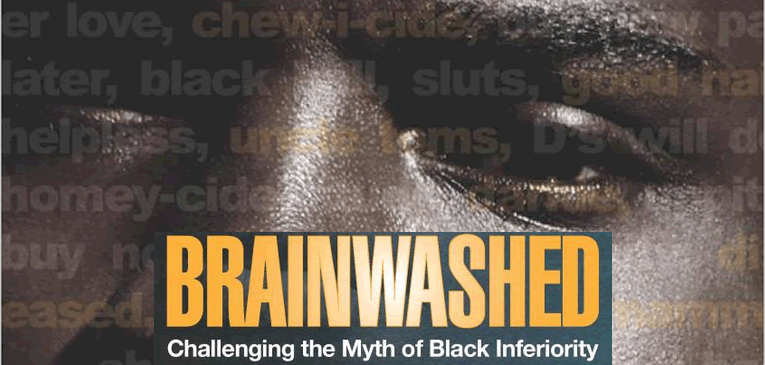 Brainwashed feature image shows text laid over the face of a Black person along with the book's title.