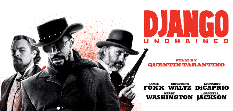 Django Unchained movie poster featuring Django,, Dr. King Schultz, and Calvin Candie standing against stark white background that is sprayed with blood.