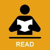 Graphic showing a person holding a book and the word 'read'.