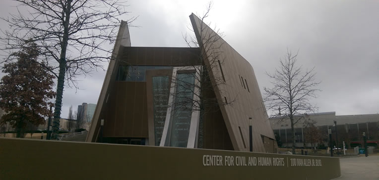 A photo of the exterior of the Center for Civil and Human Rights.