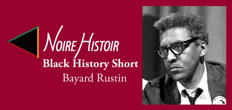 Feature image showing a portrait of Bayard Rustin.
