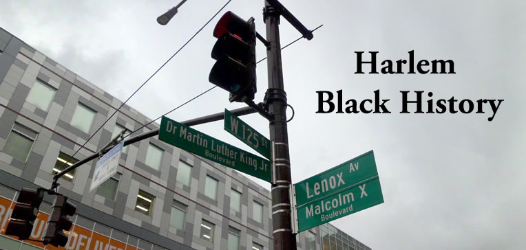 Harlem street sign showing the intersection of W125th Street and Lenox Ave (MLK Blvd & Malcolm X Blvd)