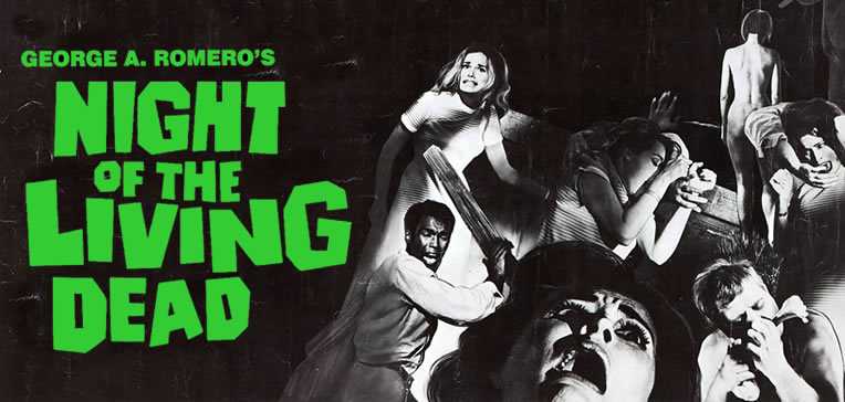 Night of the Living Dead feature image based on the movie poster that depicted the main characters and ghouls.