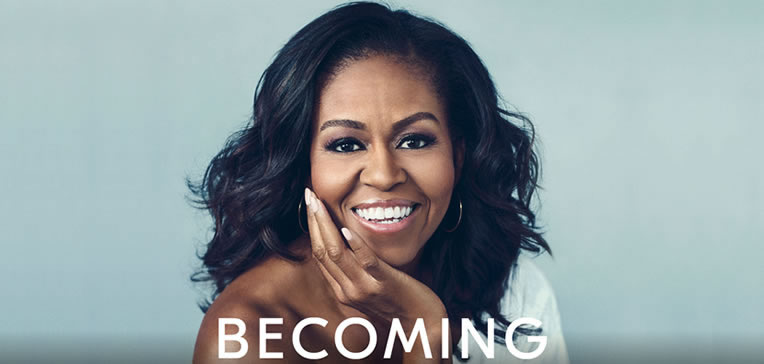 Becoming feature image portrait of Michelle Obama and book title.