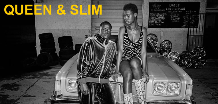 Feature image showing Queen and Slim posed on an old school car.