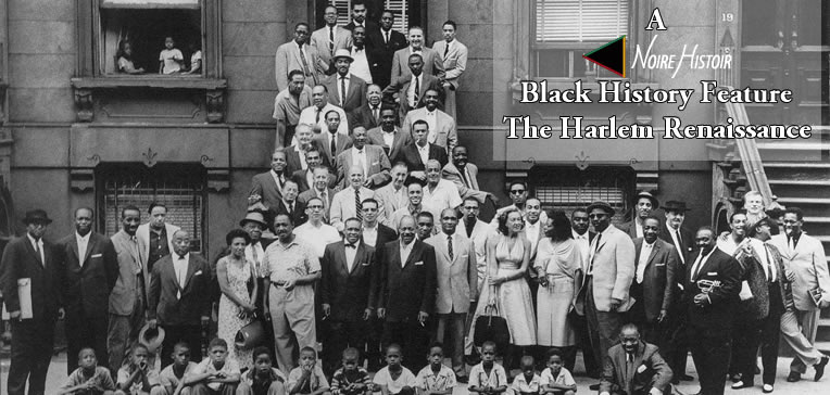 Blog feature image depicting a large group of Black people gathered on the steps of a Harlem brownstone.