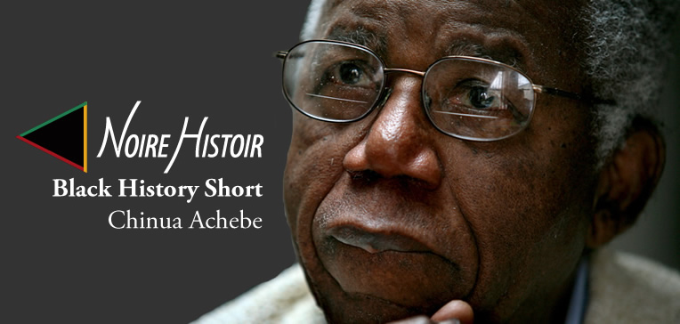 Blog feature image depicting a profile portrait of Chinua Achebe as an older man wearing glasses set against a dark gray background.