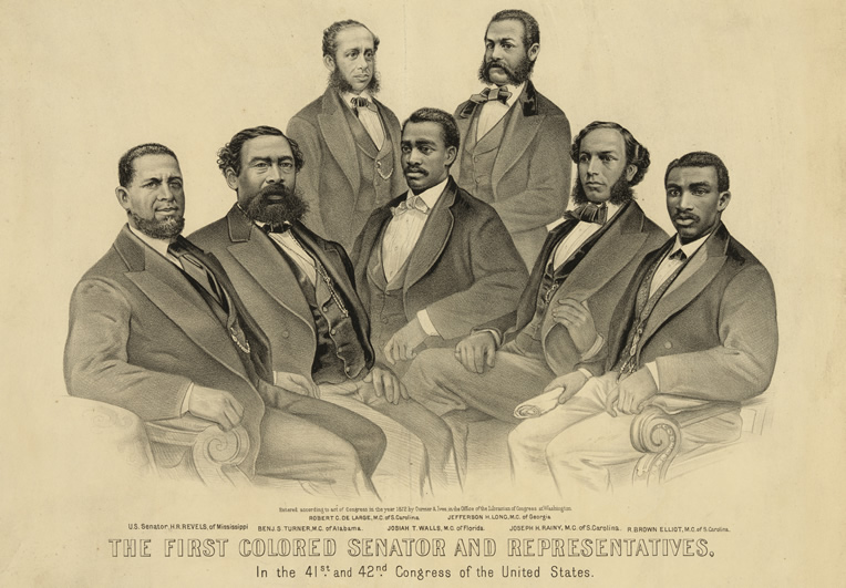An illustration of the first Black senator and representatives elected during Reconstruction.