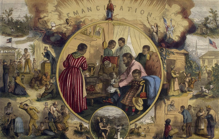 Colorized image depicting vignettes of the past enslavement and future freedom for Black people centered around emancipation.