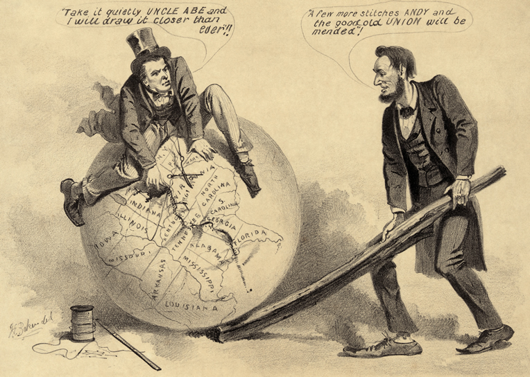 A cartoon depicts Vice President Andrew Johnson attempting to stitch together the United States while Abraham Lincoln uses a split rail to hold the globe in position.