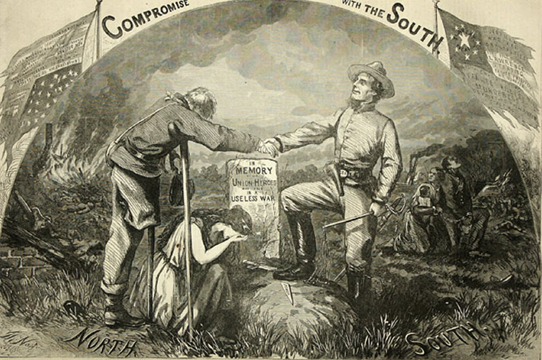 Illustration showing a Northerner who is missing a leg shaking hands with a Confederate soldier over a grave while Columbia cries beside the grave.