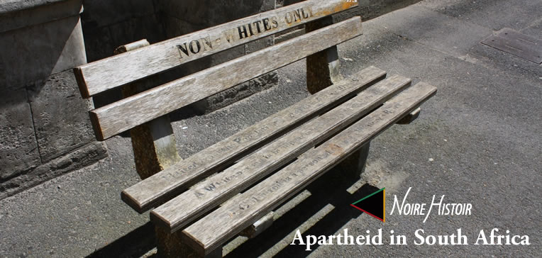 Segregated park bench for non-Whites with inscriptions on the seat.