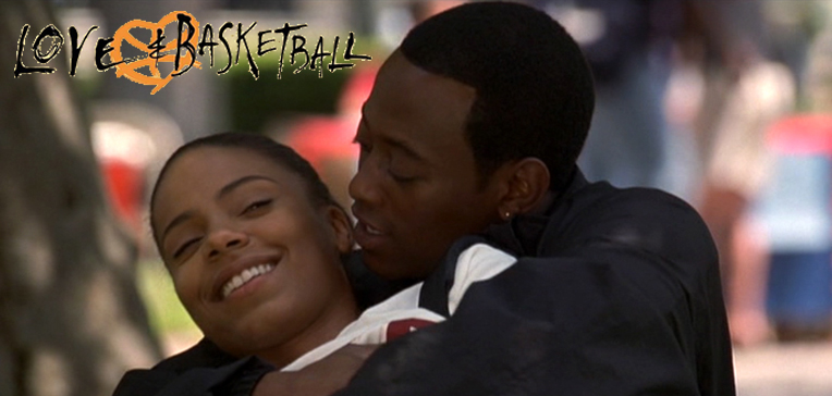 "Photo of Sanaa Lathan and Omar Epps in ""Love & Basketball""."
