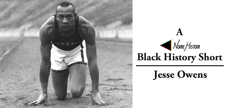 Image of Jesse Owens crouched in a runner's starting position.