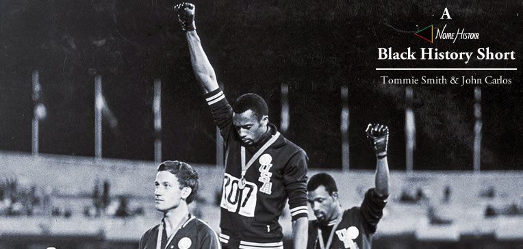 Tommie Smith and John Carlos giving the Black Power salute on the medal stand at the 1968 Olympics.