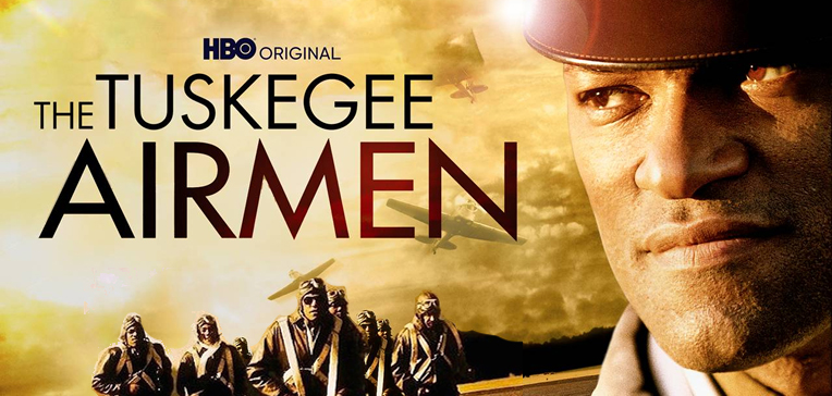 The Tuskegee Airmen movie art with a portrait of Laurence Fishbourne as Hannibal Lee.