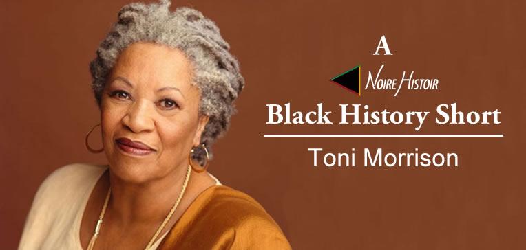 Portrait of Toni Morrison set against a brown background.