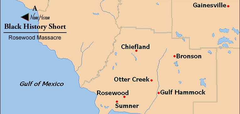 Map of Rosewood, Florida and nearby towns.