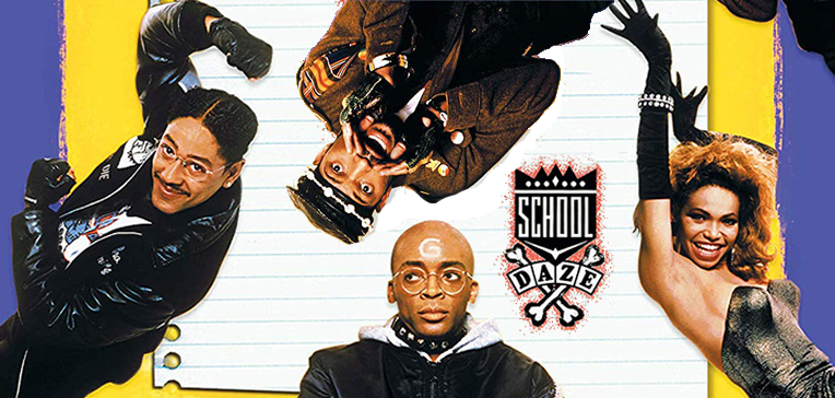 School Daze artwork featuring Laurence Fishbourne, Giancarlo Esposito, Tisha Campbell, and Spike Lee.