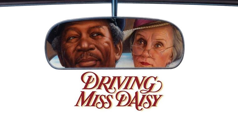 Driving Miss Daisy movie art featuring Daisy Werthan (Jessica Tandy) and Hoke Colburn (Morgan Freeman).