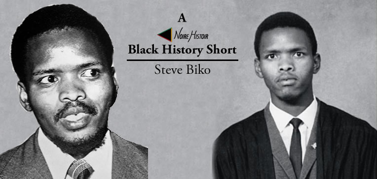Portraits of Steve Biko as a young man and adult.
