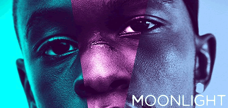 Moonlight movie poster showing Chiron at different ages.