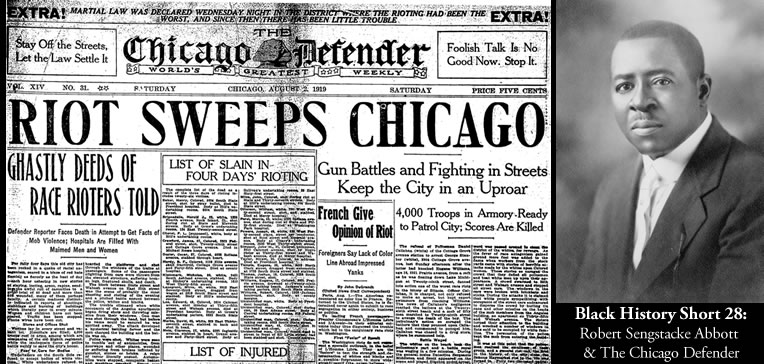 Photo of Robert Abbott and the front page of The Chicago Defender
