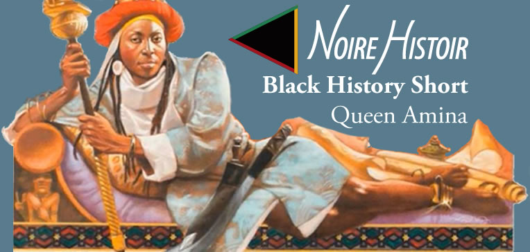 Image featuring an illustration of Queen Amina lounging on a chaise and the title of the blog post.