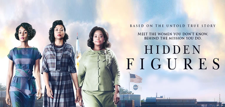 Hidden Figures feature image depicting the three female leads adapted from the movie's poster art.
