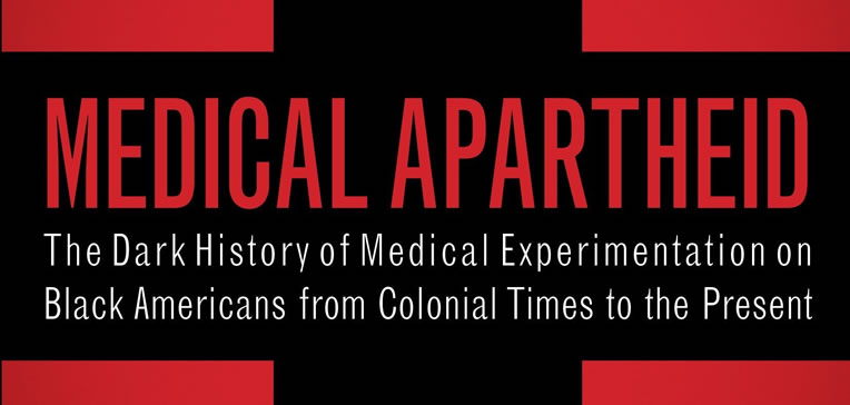 Feature image based on Medical Apartheid's second edition book cover. Black cross set against a red background with the Medical Apartheid title in red and the subtitle in white.