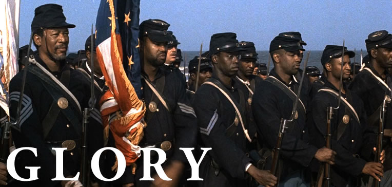 Glory feature image depicting the uniformed men of the 54th Massachusetts Regiment standing in formation before battle.