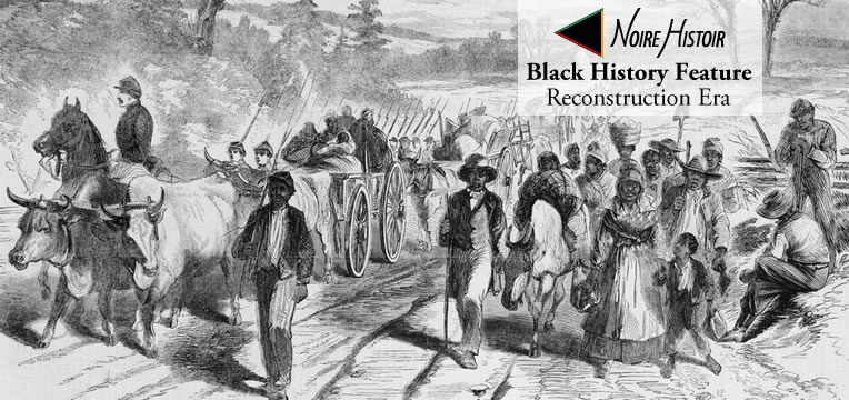 Newly freed Black people traveling into North Carolina with Union soldiers following the Emancipation Proclamation.