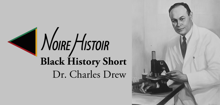 An illustration of Dr. Charles Drew in a white lab coat holding a microscope.