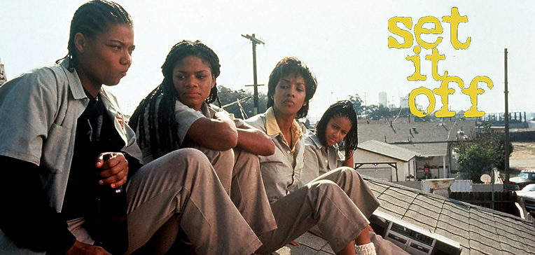 Image of the four main characters from Set It Off sitting on a roof and talking.