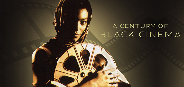 Image based on A Century of Black Cinema DVD cover depicting a black woman holding a reel of film.