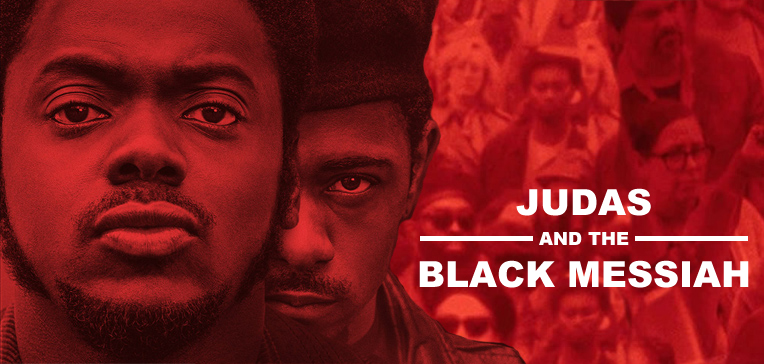 Daniel Kaaluya as Fred Hamptom and LaKeith Stanfield as William O'Neal in Judas and the Black Messiah. Red and black toned image based on movie branding.