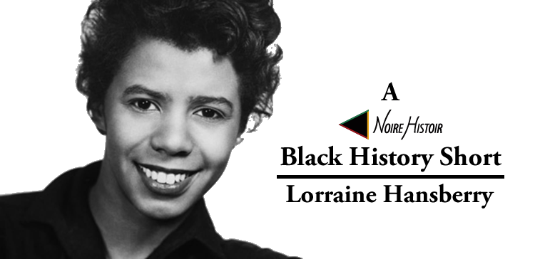 A black and white portrait of Lorraine Hansberry.