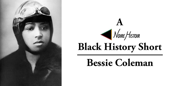 A black and white portrait of Bessie Coleman wearing a pilot cap and goggles.