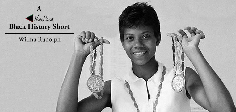 Black and white portrait of Wilma Rudolph holding her Olympic medals.