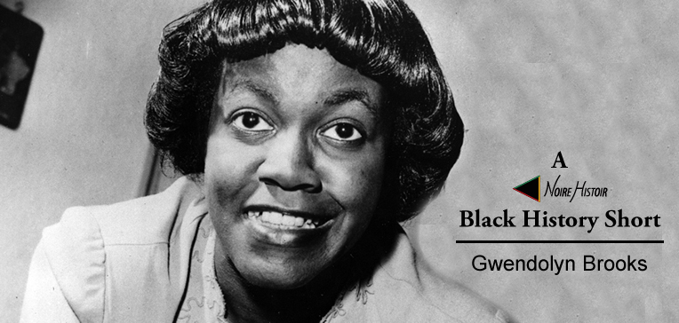 Gwendolyn Brooks smiling in a black and white profile image.