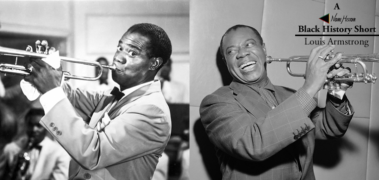Portraits of Louis Armstrong from his early and later life.