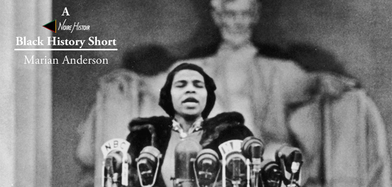 Marian Anderson singing on the steps of the Lincoln Memorial with President Abraham Lincoln's statue in the background.
