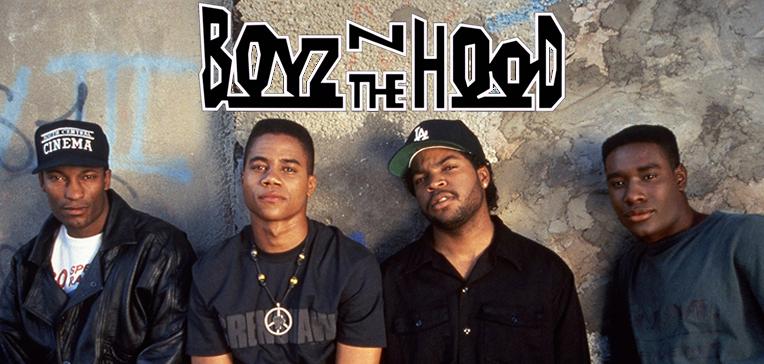Promotional image for Boyz n the Hood featuring John Singleton, Cuba Gooding Jr., Ice Cube, and Morris Chestnut.