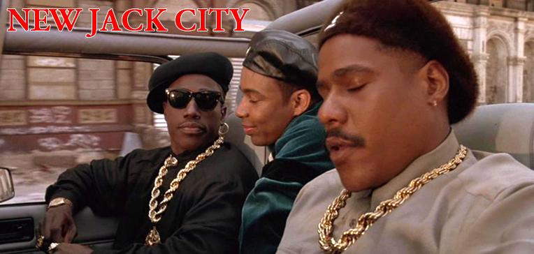 New Jack City movie art featuring Nino Brown (Wesley Snipes), Gee Money (Allen Payne), and Duh Duh Duh Man (Bill Nunn).